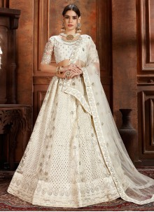 White Net Embroidered Designer Lehenga Choli