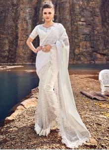 White Net Sangeet Classic Designer Saree