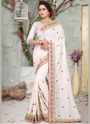 White Party Art Silk Traditional Designer Saree