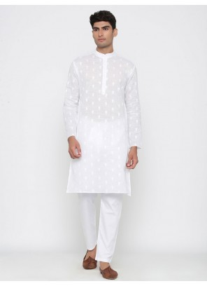 White Party Cotton Kurta Pyjama
