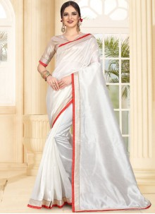 White Patch Border Art Silk Traditional Saree