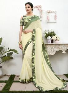 White Patch Border Faux Chiffon Classic Designer Saree