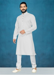 White Plain Ceremonial Kurta Pyjama