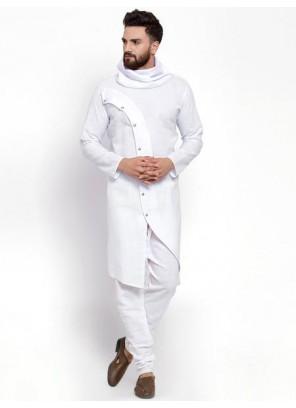 White Plain Cotton Kurta Pyjama