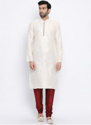 White Plain Dupion Silk Kurta Pyjama