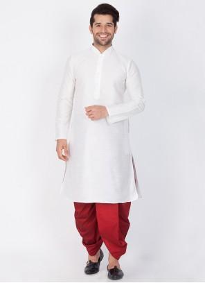 White Plain Sangeet Dhoti Kurta