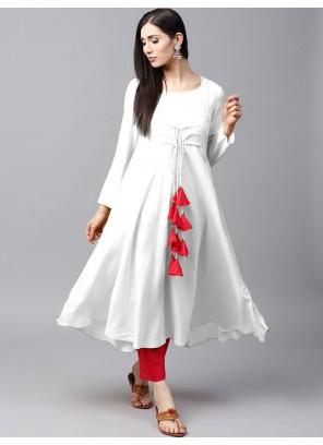 White Plain Sangeet Salwar Kameez