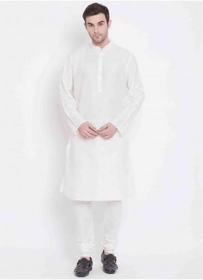 White Print Art Silk Kurta Pyjama