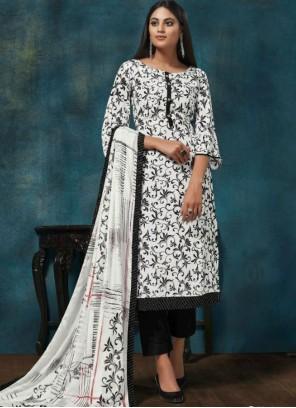 White Print Chinon Trendy Salwar Suit