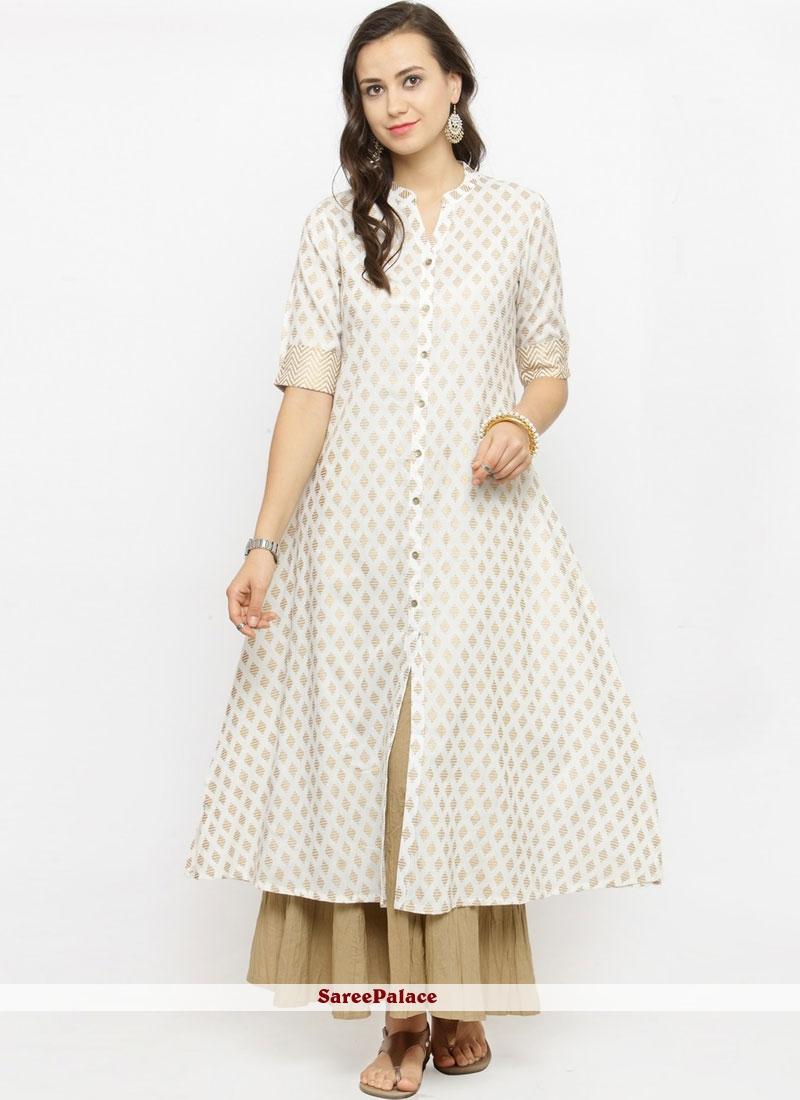 White Print Rayon Party Wear Kurti