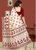 White Print Work Art Silk Casual Saree