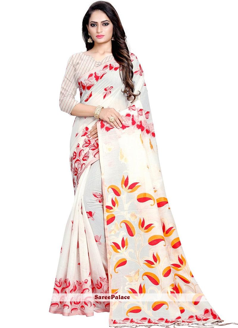 White Printed Ceremonial Designer Traditional Saree