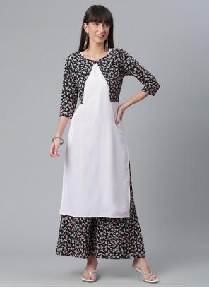 White Printed Crepe Silk Party Wear Kurti