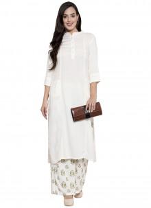 White Rayon Party Wear Kurti