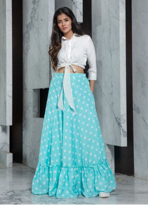 White Rayon Trendy Designer Lehenga Choli