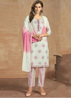 White Reception Cotton Salwar Kameez