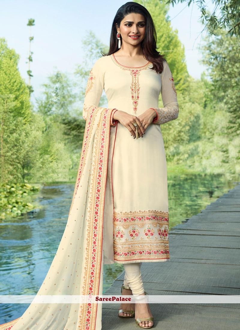 White Resham Churidar Designer Suit