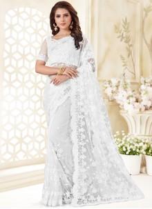 White Resham Traditional Saree
