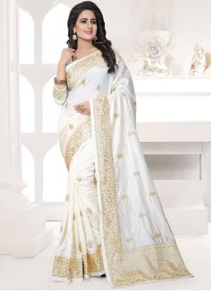 White Resham Work Art Silk Designer Traditional Saree