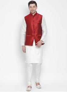White Sangeet Kurta Payjama With Jacket