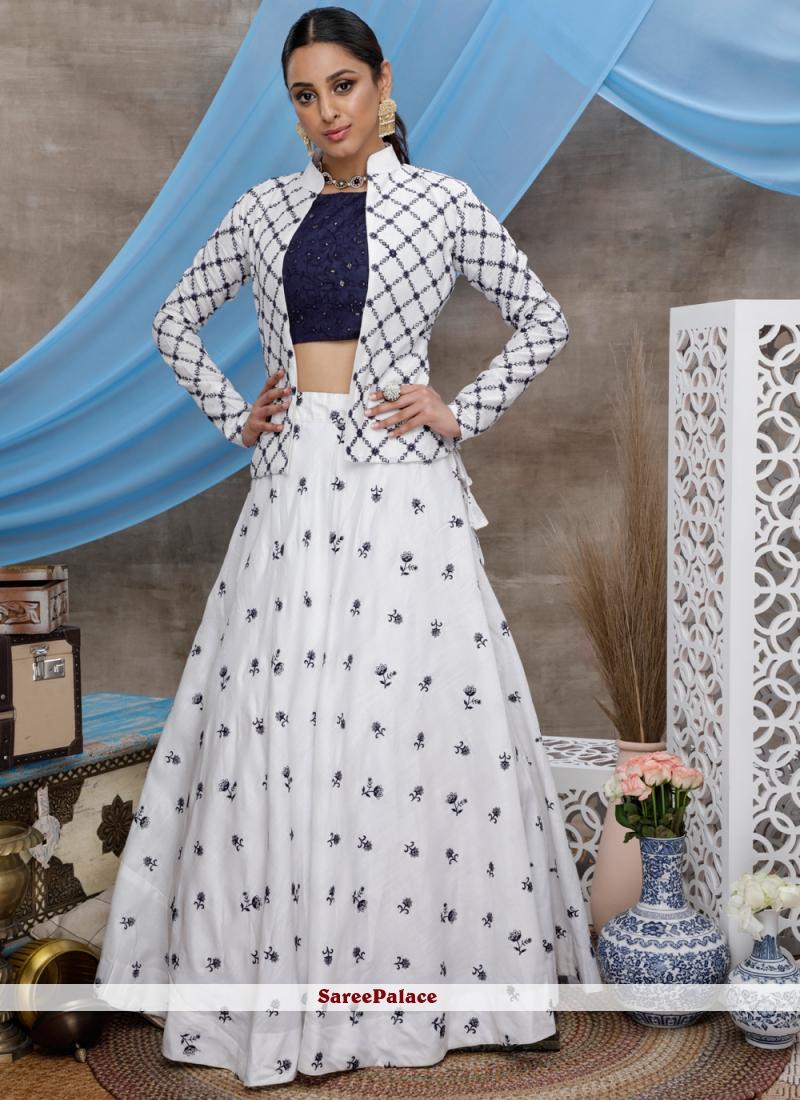 White Sequins Designer Lehenga Choli