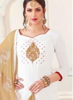White Silk Churidar Designer Suit