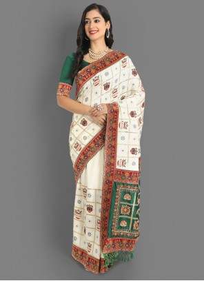 White Embroidered Silk Saree