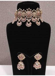 White Stone Work Engagement Necklace Set