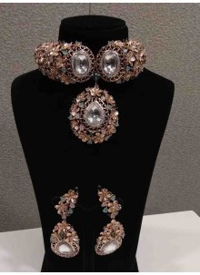 White Stone Work Reception Necklace Set