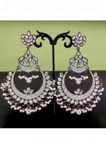 White Stone Work Wedding Ear Rings