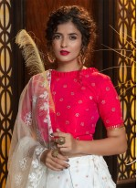 White Weaving Bollywood Lehenga Choli