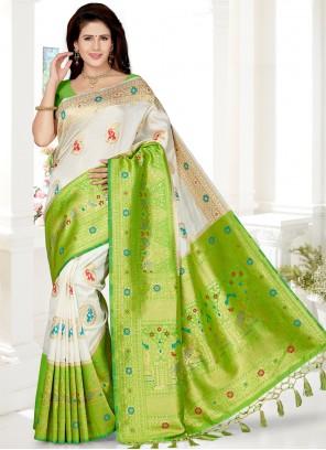 White Weaving Party Contemporary Saree