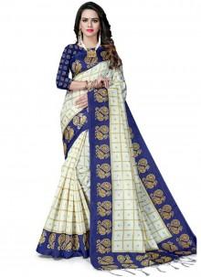 White Weaving Party Silk Saree