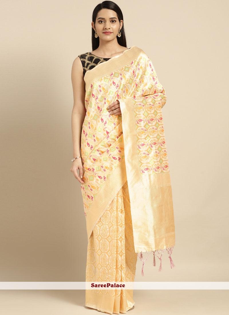 White Weaving Trendy Saree