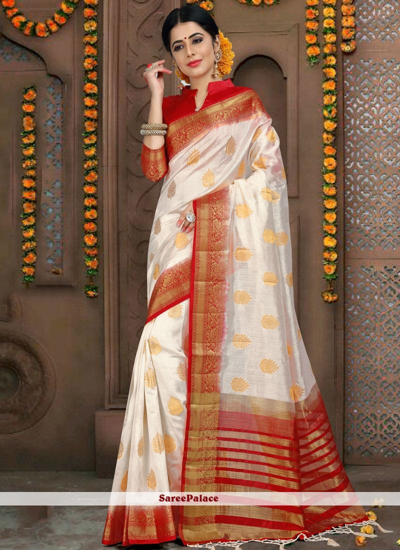 White Woven Fancy Fabric Classic Designer Saree