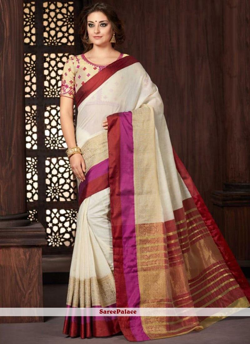 White woven Work Classic Saree