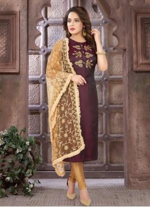 Wine Art Silk Readymade Suit