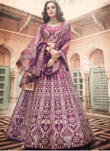 Wine Art Silk Reception Lehenga Choli