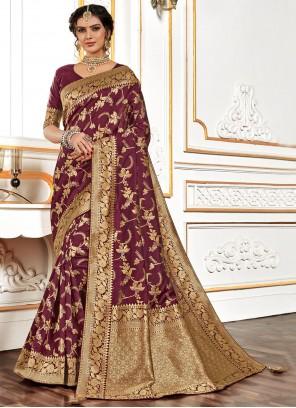 Wine Banarasi Silk Traditional Designer Saree