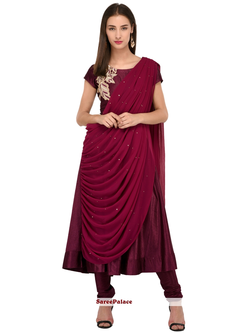e98993d2bf Buy Wine Bhagalpuri Silk Readymade Salwar Suit Online