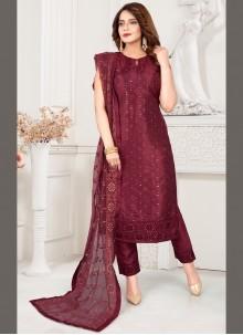 Wine Ceremonial Art Silk Readymade Suit