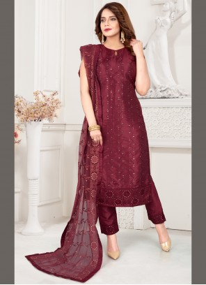 Wine Ceremonial Art Silk Readymade Suit