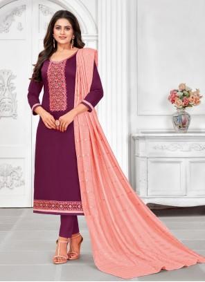 Wine Ceremonial Cotton Churidar Salwar Suit