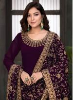 Wine Color Floor Length Anarkali Suit
