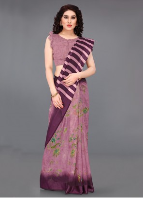 Wine Cotton Abstract Printed Saree