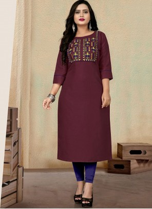 Wine Embroidered Cotton Party Wear Kurti
