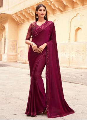 Wine Embroidered Designer Traditional Saree