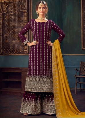 Wine Embroidered Faux Georgette Designer Pakistani Suit
