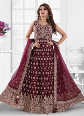 Wine Embroidered Net Floor Length Anarkali Suit