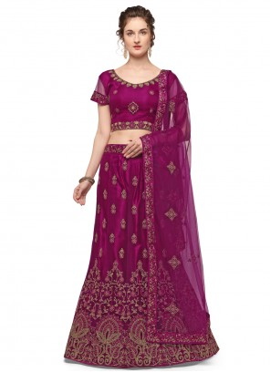 Wine Embroidered Net Lehenga Choli